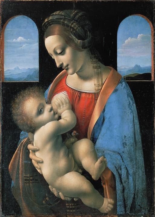 Maria stillt das Jesuskind, welches nackt ist und lockige blonde Haare hat. Maria trägt ein rotes Kleid und einen blauen Umhang. Hinter ihr sind zwei Fensterbögen, die den Blick auf eine in blau gehaltene Landschaft und einen Himmel mit weißen Wolken freigibt. Das Jesuskind hält mit der rechten Hand den Busen fest und mit der linken Hand einen kleinen Spielzeugvogel. Maria hat ein seidenes Tuch wie einen Turban um den Kopf gewickelt, dessen Enden so lang sind, dass sie damit auch das Kind umhüllt.
